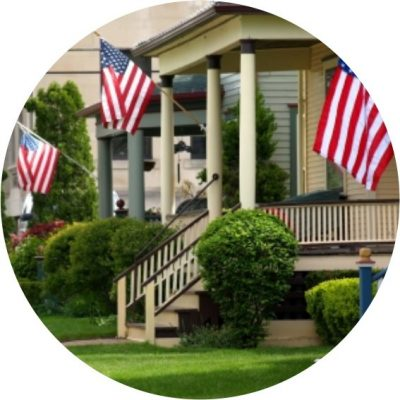 House-with-American-flags